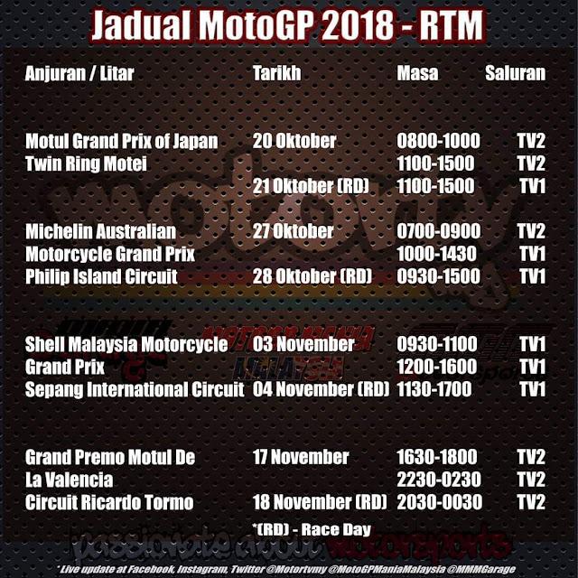 RTM telah mengeluarkan jadual siaran lansung untuk 4 pusingan terakhir MotoGP pada tahun ini