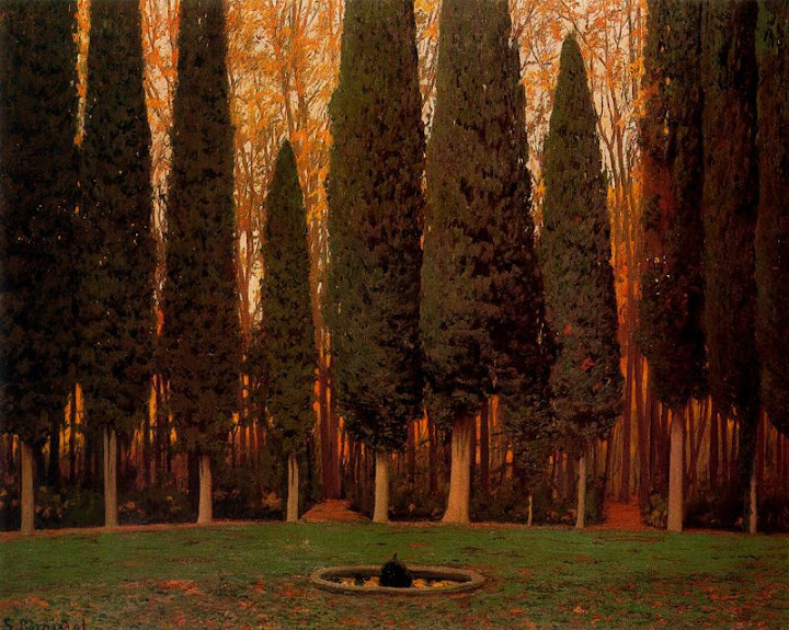 Santiago Rusiñol - Jardín con cipreses