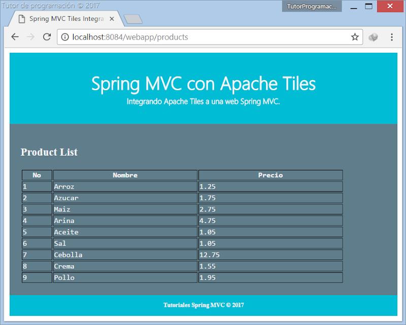 Integración Apache Tiles Spring MVC