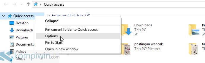 menghapus quick access
