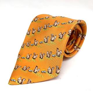 Hermes Orange Squirrel Tie