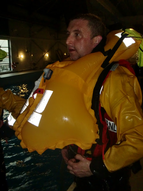 31 May 2012 - Crew Member Scott Rowland with new ALB lifejacket inflated. Photo: RNLI Poole/Dave Riley