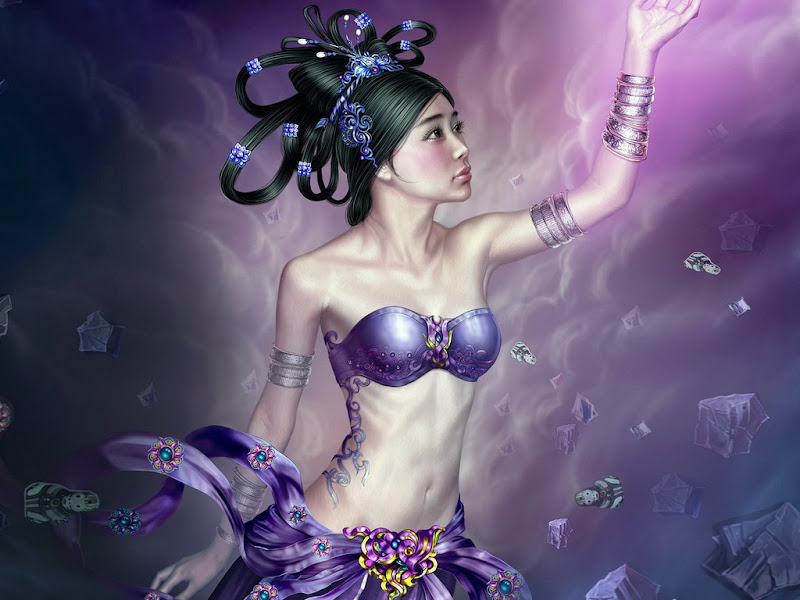 Ice Samurai Fantasy Girl, Magic Samurai Beauties