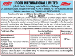IRCON Finance Vacancy Advertismeent 2017 indgovtjobs.in