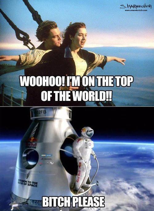 Felix Baumgartner contesta o voo de Rose em Titanic