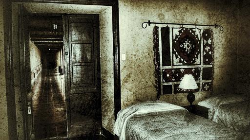 Interior de una habitación con dos camas y pasillo