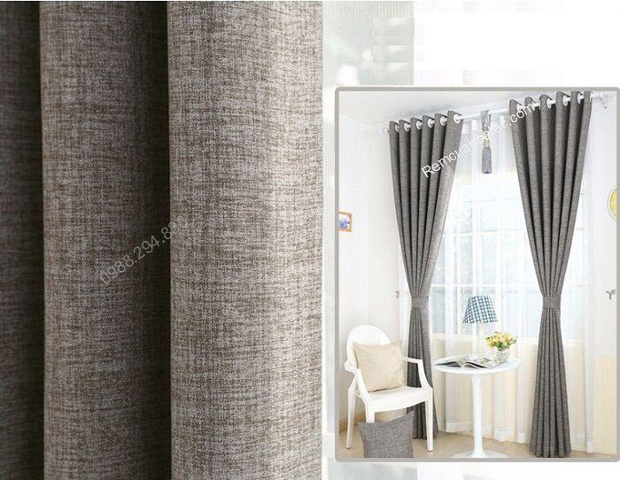 rèm vải đẹp hà nội một màu ghi xám 8