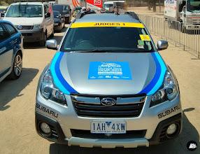 Photo: Windscreen banners for 75 cars for Jayco Herald Sun Tour at Birrarung Marr on behalf of USM Events #heraldsuntour #windscreenbanners #cardecals #sticker #bonnetdecals #Subaru