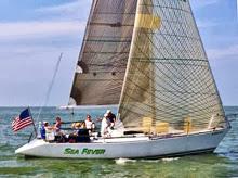 J/34 IOR sailboat- sailing upwind