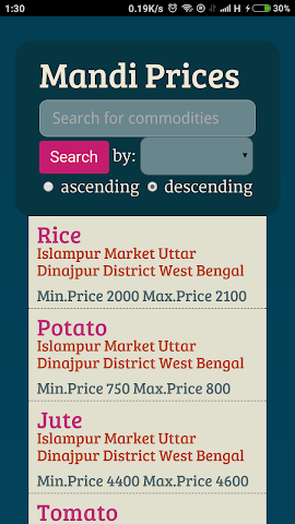 Screenshots for Mandi Prices