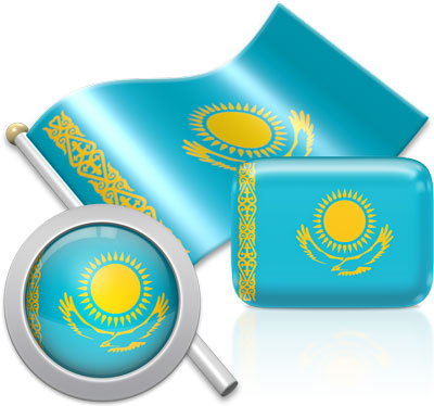 Kazakhstani flag icons pictures collection