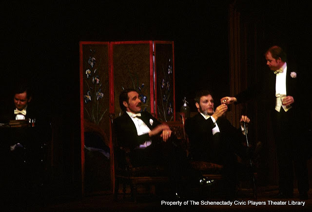 Bruce Hallenbeck, Richard Wendover, G. Scott Brueninger and John McCarty in LADY WINDERMERE'S FAN - January/February 1976.  Property of The Schenectady Civic Players Theater Archive.Bertha Lloyd,