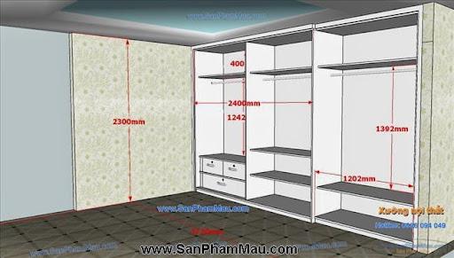 <strong><em>Tủ âm tường màu trắng kết hợp cửa lùa và cửa mở</em></strong>-3