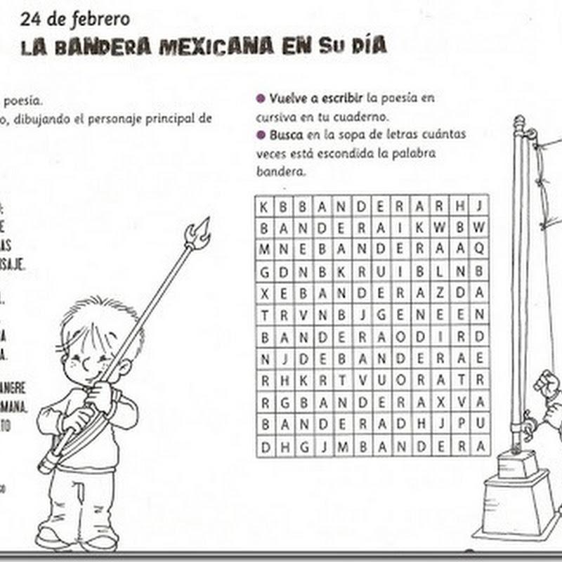 Colorear dibujos día de la bandera mexico