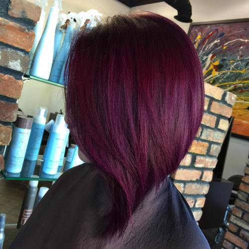 Plum hair color a beautiful contrast for woman 2018 2