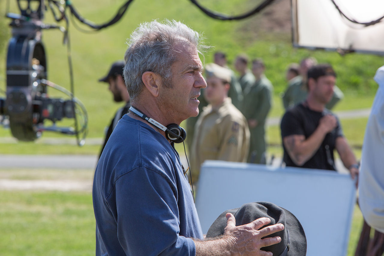 Director Mel Gibson on the set of HACKSAW RIDGE. (Photo by Mark Rogers / Lionsgate)