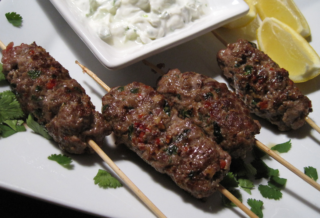 with barbecued lamb kebabs with flatbread mince yogurt sauces kofta ...