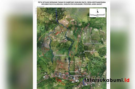 Peta lokasi bencana pergerakan tanah di Nyalindung // Sumber Foto : BPBD