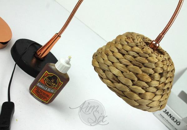 Gorilla glue basket lampshade