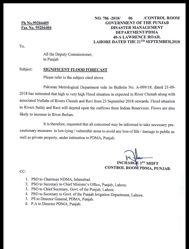 WARNING REGARDING SIGNIFICANT FLOOD FORECAST IN RIVER CHENAB AND RAVI