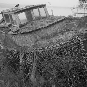 The old boat. by Sigbjørn Berg - Black & White Landscapes ( old, fishing boat )