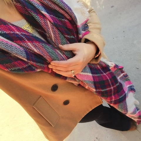 how to style a peacoat, blanket scarf