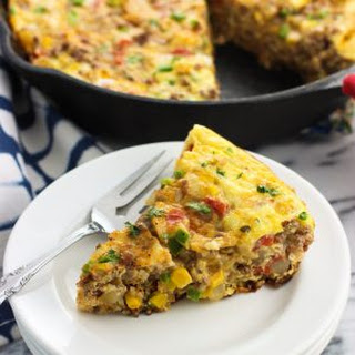 Hearty Southwestern Frittata with Potato and Beef.