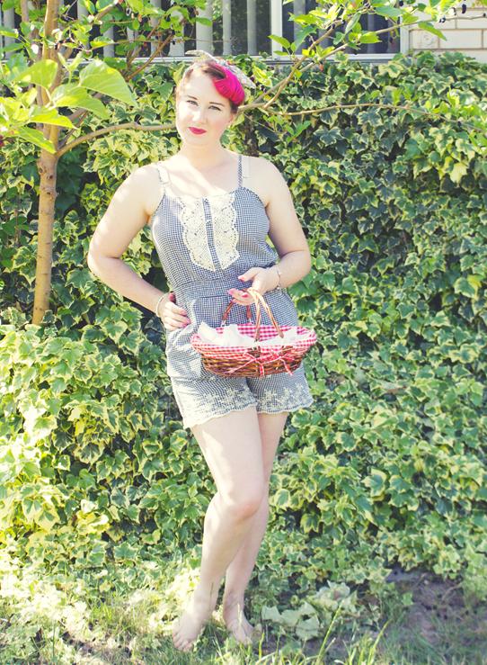 Navy gingham playsuit ~ vintage summer style | Lavender & Twill