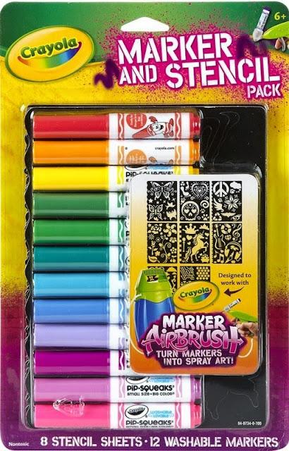 Bộ bút lông 12 màu sáng Crayola Mã 0487340000 dùng kèm với bình phun sơn