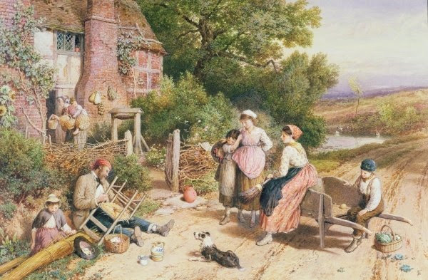Myles Birket Foster - Old Chair Mender and Pedlar hanging baskets near Whitley
