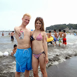 matt & heather at enoshima beach in japan in Fujisawa, Kanagawa, Japan
