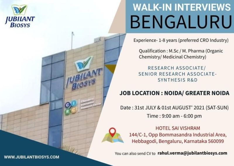 Walk-In For Synthesis R&D At Jubilant Biosys