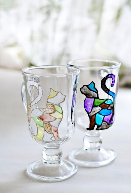 Black and White Mosaic Cat Glass Set by zmyessHandmade
