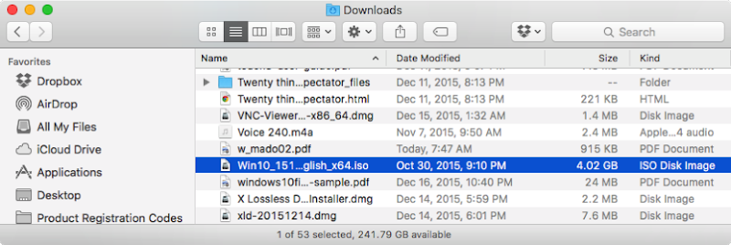 The Downloads folder with the disk image highlighted