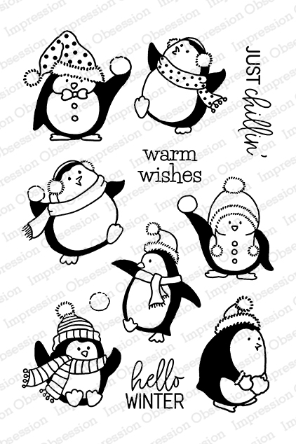 Just Chillin' penguin stamp set from Impression Obsession