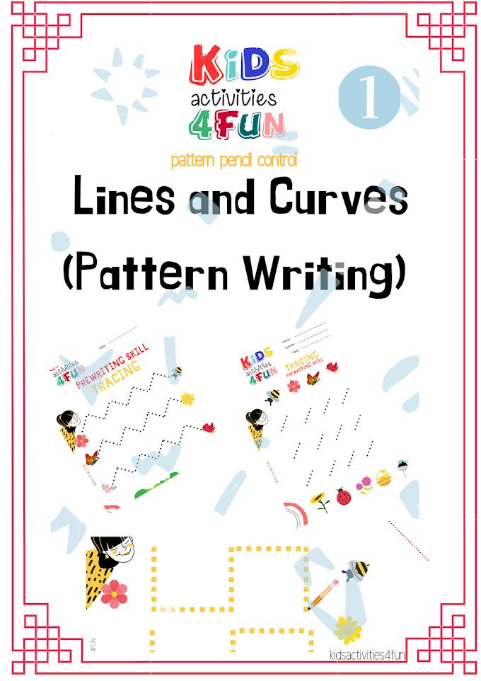 1st step of Simple Tracing worksheet for home-school & preschool kids