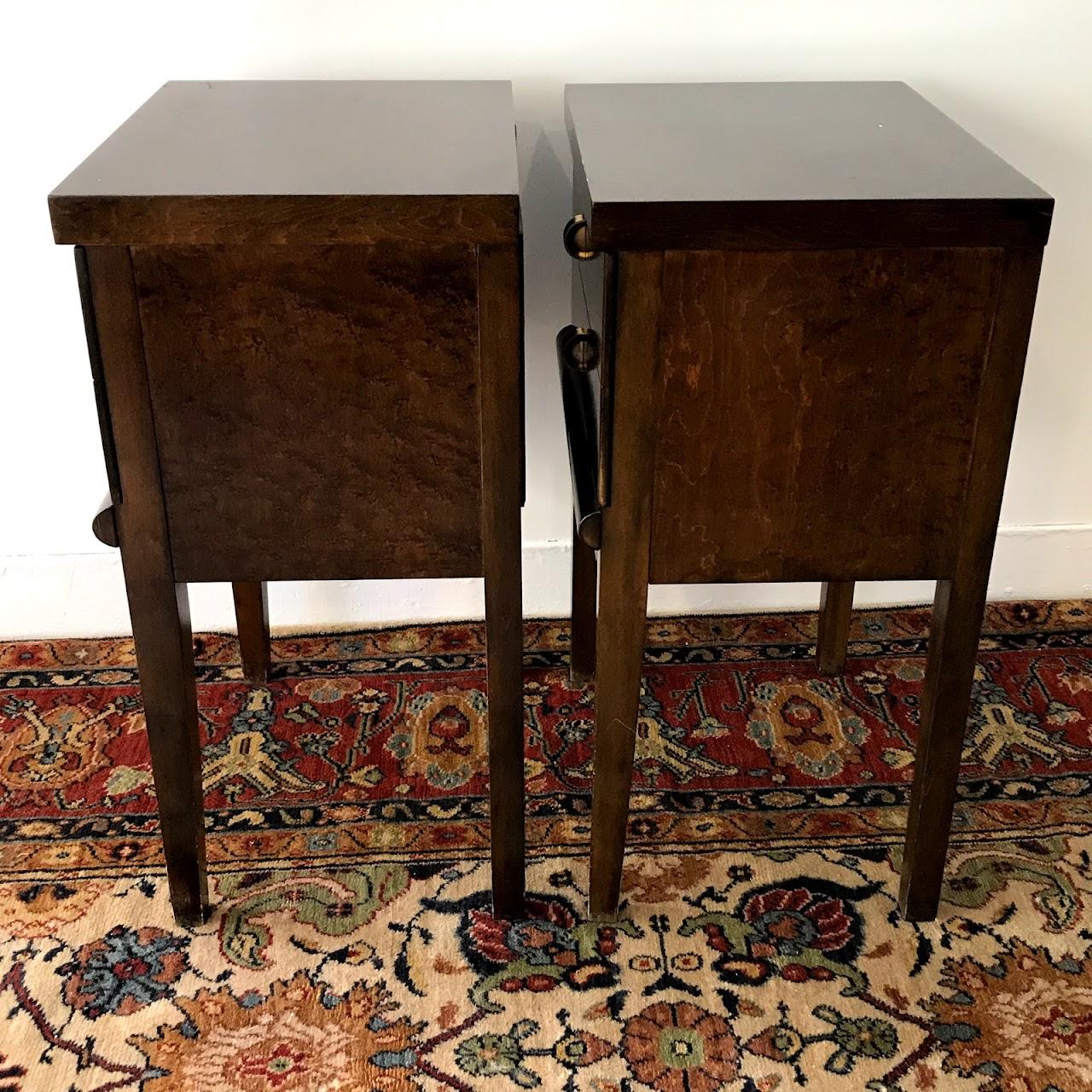 Mid-Century Modern Burlwood End Table Pair