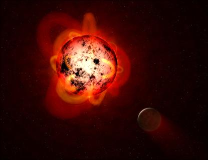 ilustração de uma estrela anã vermelha orbitada por um exoplaneta hipotético
