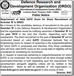 DRDO Scientist B Notice 2017 www.indgovtjobs.in