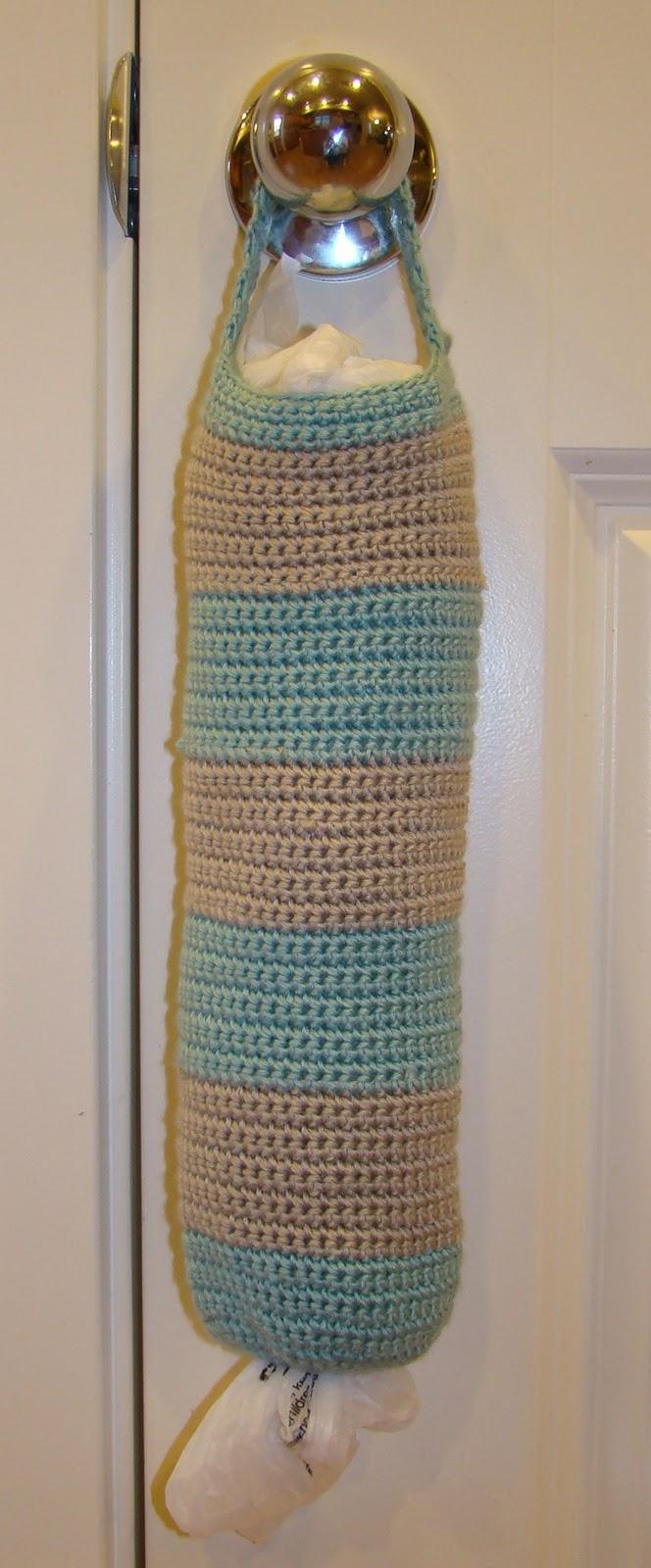 Crochet Pattern For Trash Bag Holder : Crafts By Starlight: Striped Grocery Bag Holder - Crochet