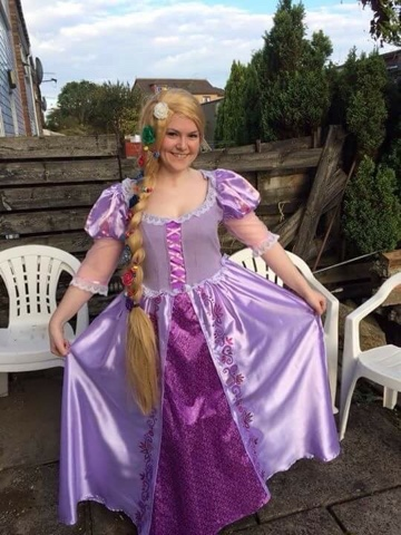 Photo of Lisa, best friend in a Rapunzel costume