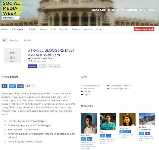 Travel Blogging as a profession on Social Media Week, Bangalore