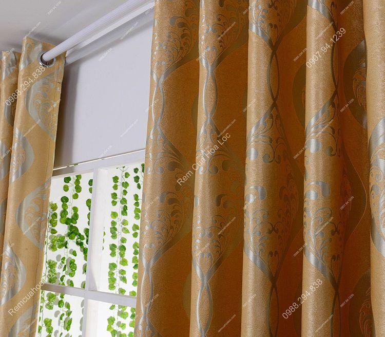 Rèm cửa cao cấp đẹp vàng ánh bạc 6