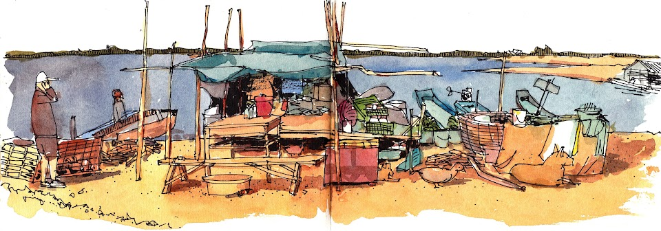 Tonle Sap Chong Kneas Village sketch