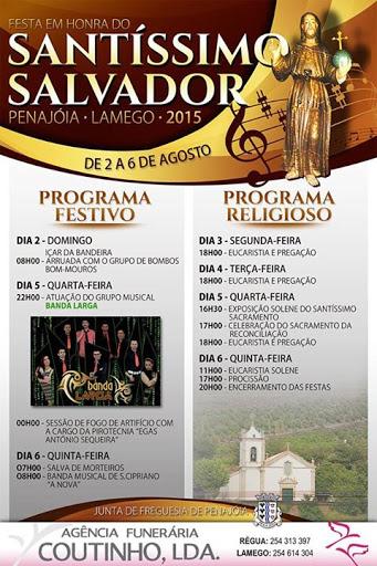 Programa - Festa em Honra de Santíssimo Salvador - Penajóia - Lamego - 2015