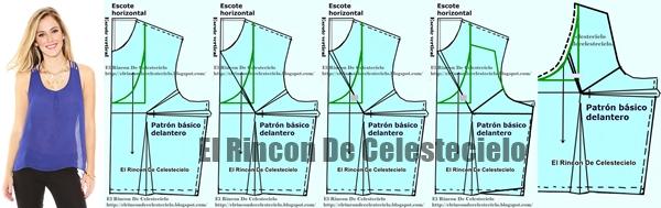 Trazo de patrones para blusa de tiras al hombro con escote en U