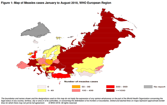 Map of Measles cases January to August 2018, WHO European Region. Graphic: WHO