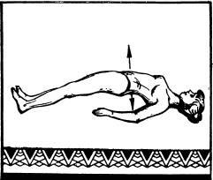 Лежа на спине, упереться пятками и верхней частью спины в пол и, сделав вдох, прогнуться в пояснице