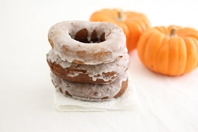photo of a stack of three donuts