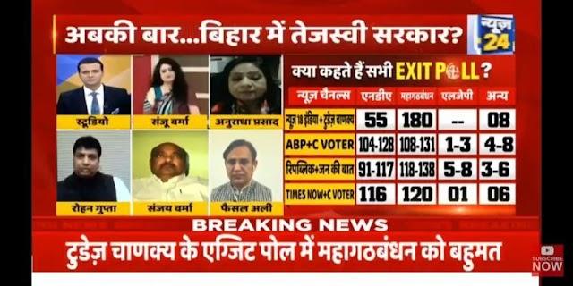 Bihar election exist polls : नितेश कुमार का मामला है साफ NDA पे भारी महागठबंधन